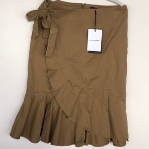 NWT Tan Ruffle Wrap Skirt